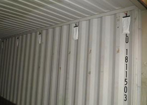 Bags with hook under container roof