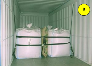 Cargo-Net and an airbag securing Big Bags inside the container
