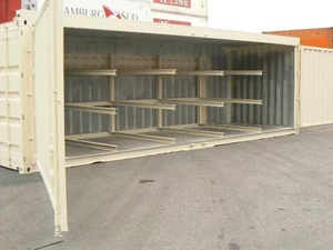 113 -20' second hand container with 2 wide doors for light tubes