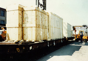 Cases on rail wagons